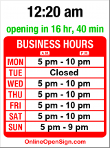 Business hours for Gaudi - Taste of Spain