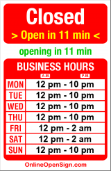 Business hours for Boom Noodle