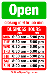 Business hours for Cherry Street Coffee House