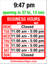 Business hours for Pacini Lubel Gallery