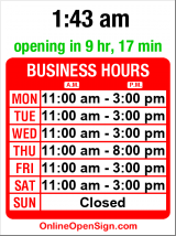 Business hours for BuiltBurger