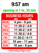 Business hours for The Olive and Grape