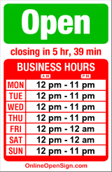 Business hours for Old School Frozen Custard