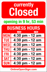 Business hours for Marche