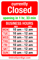 Business hours for Blockbuster Video
