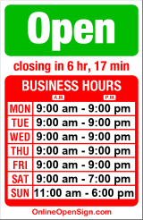 Business hours for Cingular Wireless