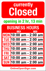 Business hours for Honeyhole