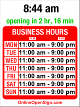 Business hours for Kidd Valley