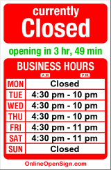 Business hours for Kaspar's