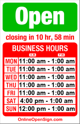 Business hours for Jai Thai