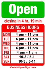 Business hours for Dilettante Chocolates Cafe