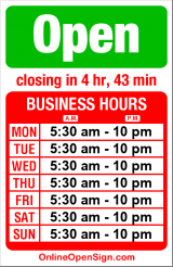 Business hours for Victrola