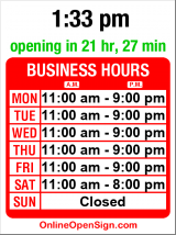Business hours for Teriyaki Madness #3