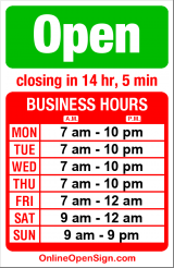 Business hours for Subway 345 15th Ave