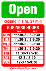 Business hours for Chinoise Cafe