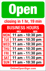 Business hours for Vincenzo's