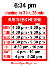 Business hours for Sakura Teriyaki Shop