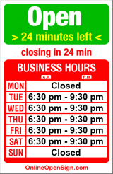Business hours for My Sweet Lord