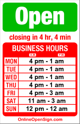 Business hours for Wing Zone