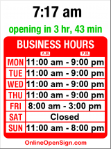 Business hours for Panini Grill Cafe