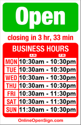 Business hours for Taco Del Mar