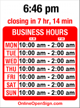 Business hours for Zobel Ethiopian Restaurant/Bar