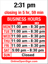 Business hours for Ginger Lime Restaurant