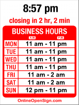 Business hours for Toscana Pizzeria