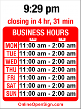 Business hours for Deluxe Bar & Grill