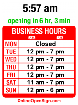 Business hours for Kobo Shop & Gallery