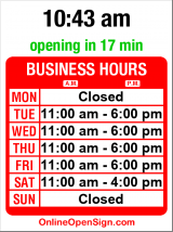 Business hours for Electric Vehicles NW (MOVED)