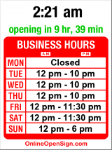 Business hours for Simply Desserts