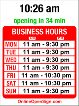 Business hours for Kaosamai