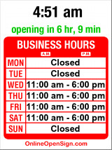 Business hours for Edge of Glass Gallery