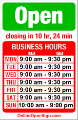 Business hours for Discount Palace