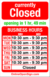 Business hours for Market Street Pharmacy