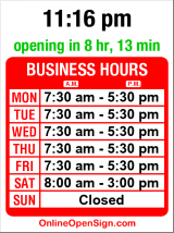 Business hours for Parts Plus
