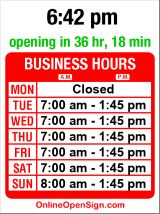 Business hours for The Dish Cafe