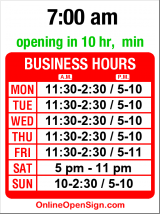 Business hours for Serafina