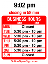 Business hours for Brad's Swingside Cafe