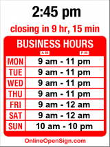 Business hours for Blue Video