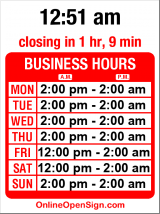 Business hours for Kangaroo & Kiwi Pub