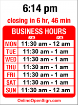 Business hours for Wedgwood Broiler