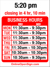Business hours for Chiang's Gourmet