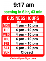 Business hours for Yanni's Greek Cuisine