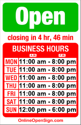 Business hours for Gametown