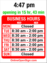Business hours for Dessert Works