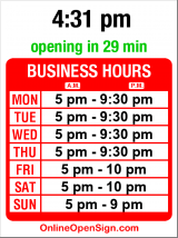Business hours for Kabul Afghan Cuisine
