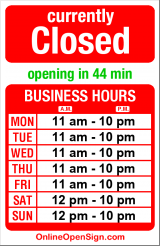 Business hours for Sea Thai
