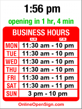 Business hours for Olympia Pizza & Spaghetti